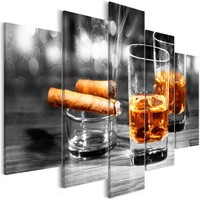 Schilderij - Sigaar en Whiskey II , Mannenwereld , 5 luik