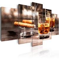 Schilderij - Sigaar en Whiskey , Mannenwereld , 5 luik