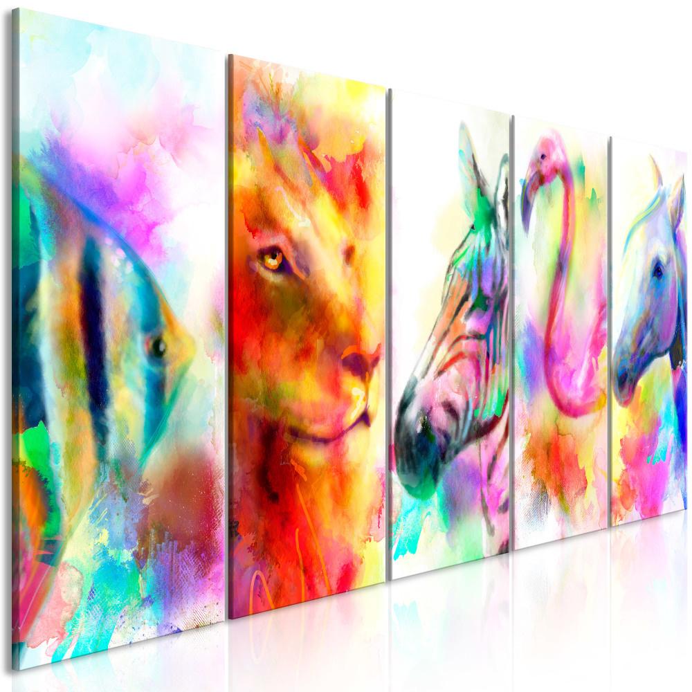 Schilderij - Dieren in Waterverfkleuren II , 5 luik
