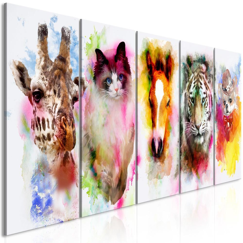 Schilderij - Dieren in Waterverfkleuren , 5 luik