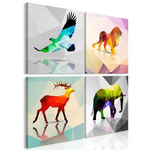 Schilderij - Geometrische dieren II, 4 delen
