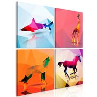 Schilderij - Geometrische dieren, 4 delen