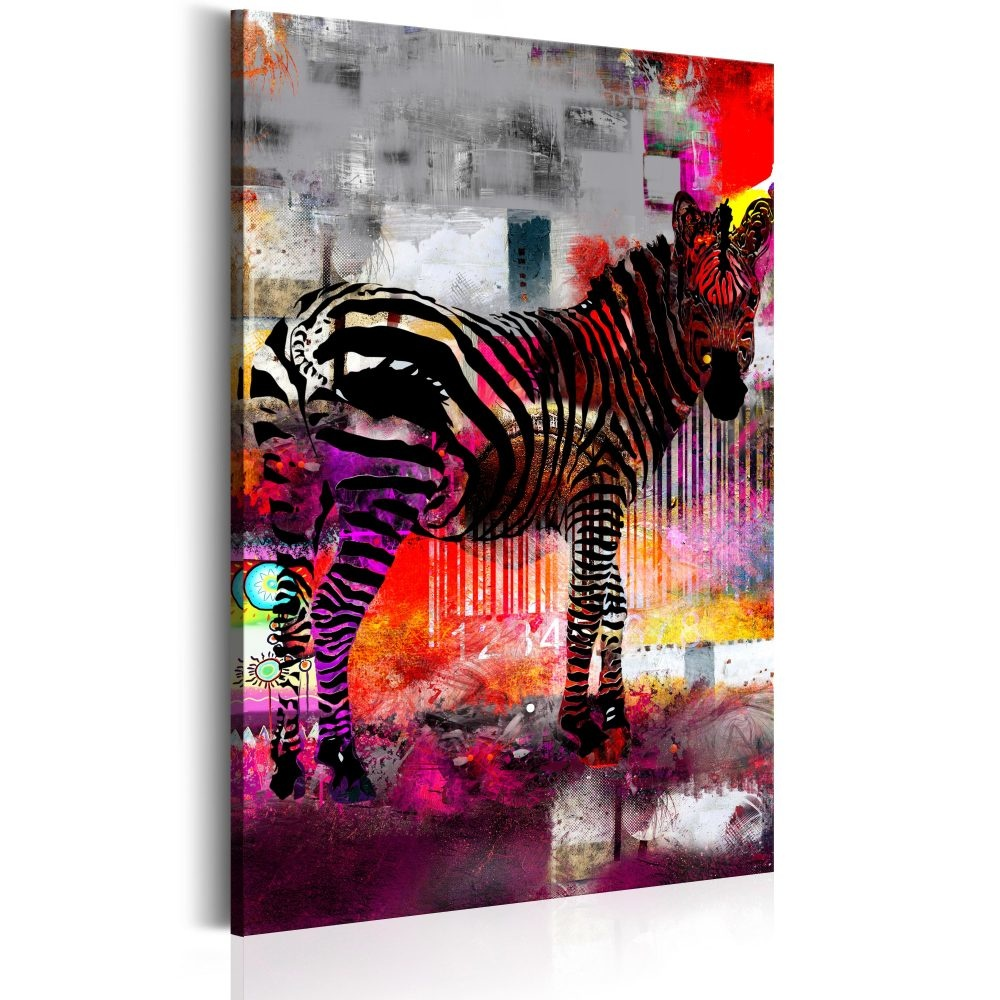 Schilderij - Zebra in moderne kleuren