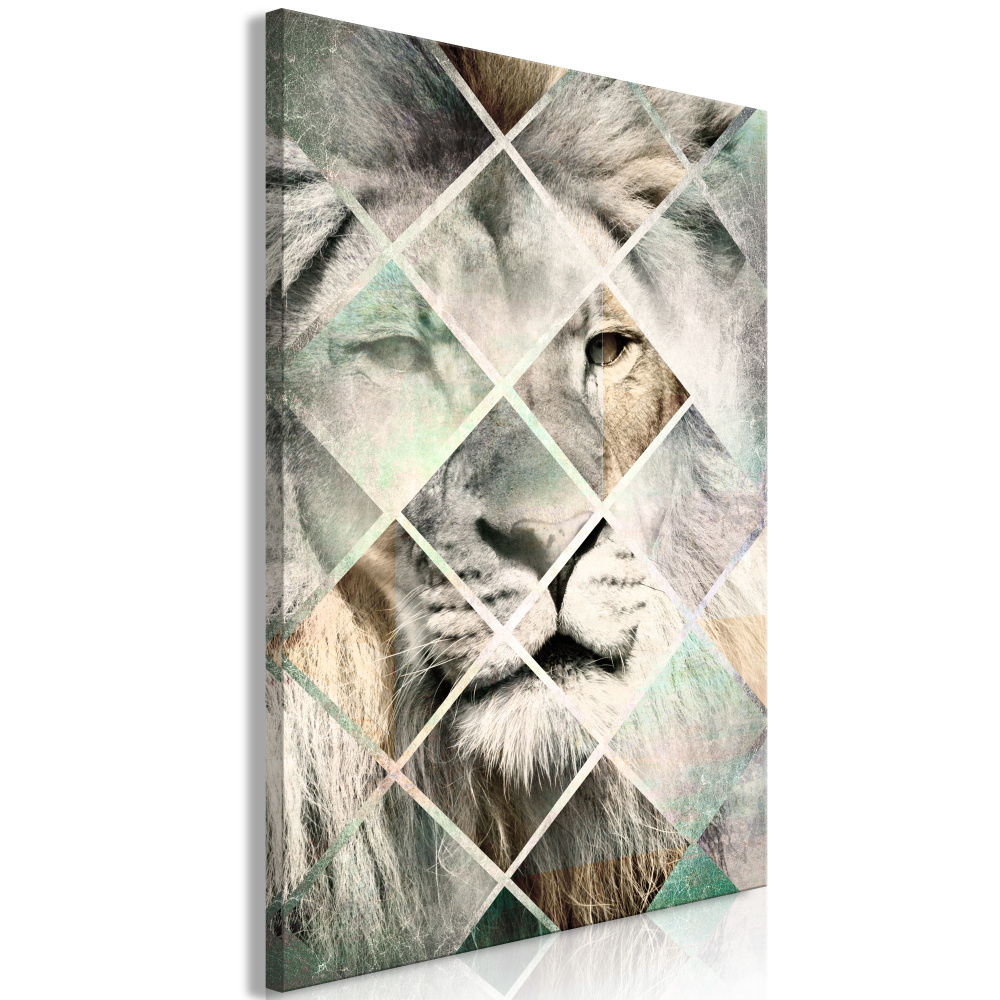 Schilderij - Geruite Leeuw