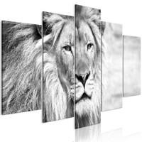Schilderij -De Koning van de Dieren , Leeuw , 5 luik , zwart wit