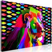 Schilderij - Regenboog Leeuw
