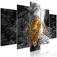 Schilderij - Rustend Luipaard in het bos II, 5 luik