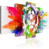 Schilderij - Kleuren van de Koning II, Leeuw , 5 luik