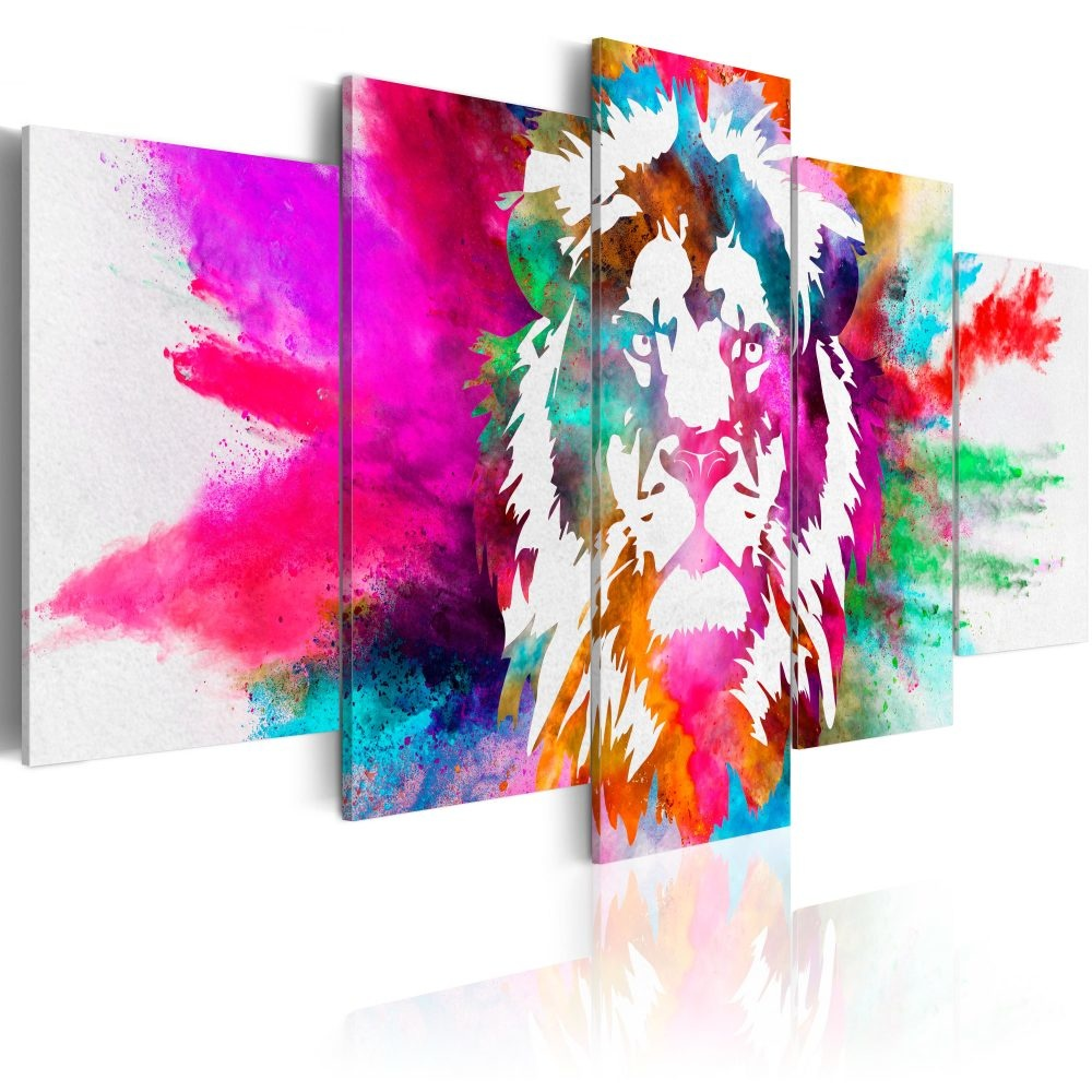 Schilderij - Kleuren van de Koning , Leeuw , 5 luik