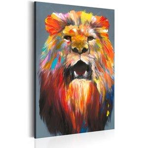 Schilderij - Kleuren van de Koning , Leeuw