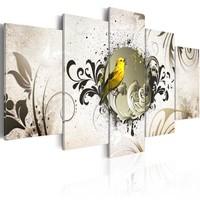 Schilderij -Gele vogel op abstracte achtergrond , 5 luik