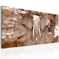 Schilderij -Stenen Olifant , 3 luik
