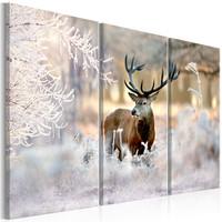 Schilderij - Hert in de Winter II , 3 luik