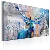 Schilderij , Vintage Hert , Blauw