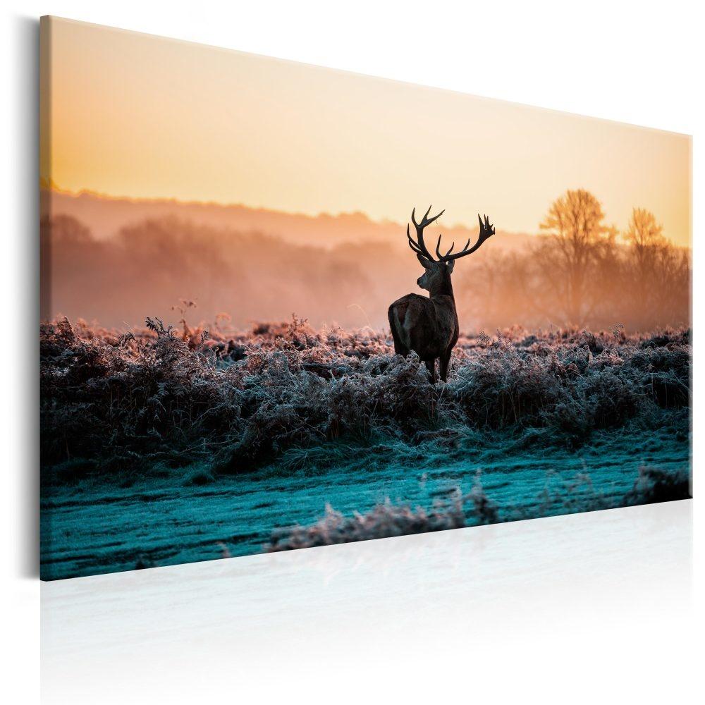Schilderij - Hert op een bevroren veld