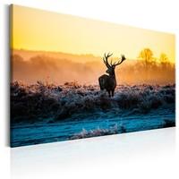 Schilderij - Hert in het veld in de winter