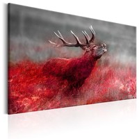 Schilderij - Brullend Hert in Rood veld