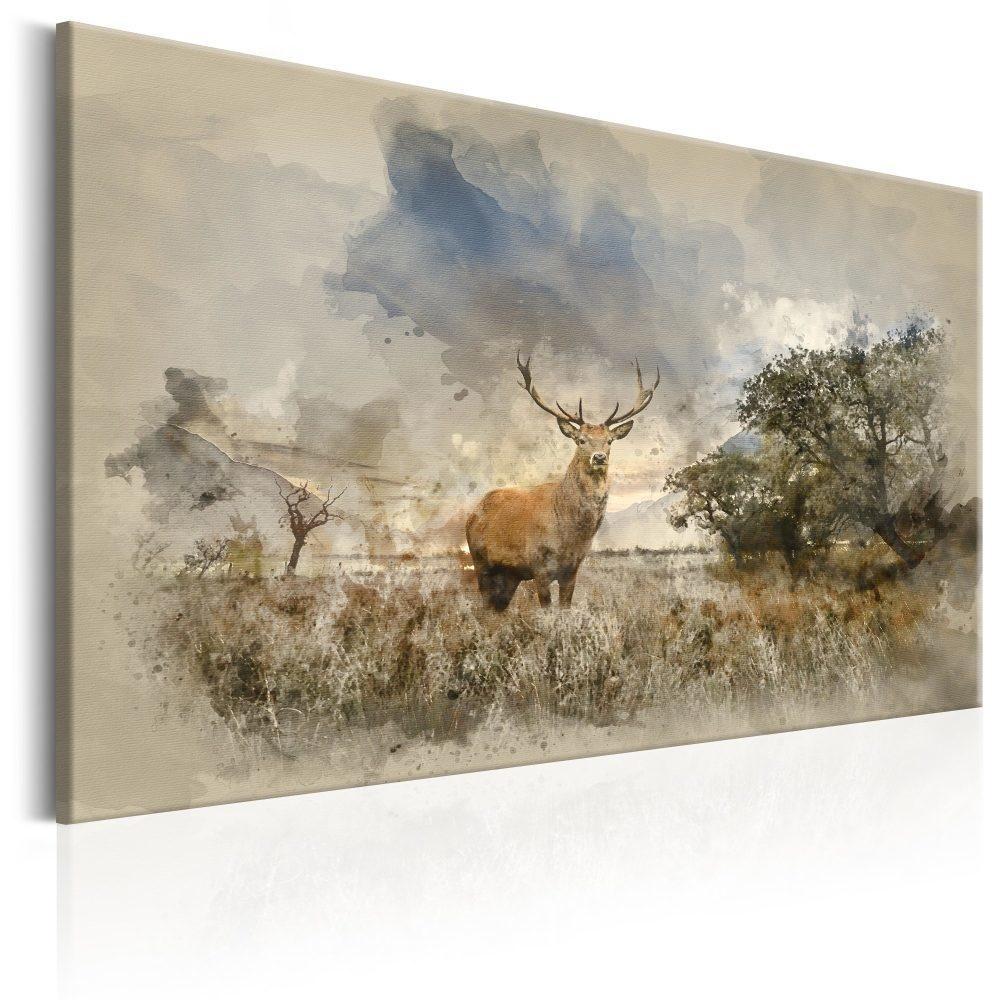 Schilderij - Hert in het veld