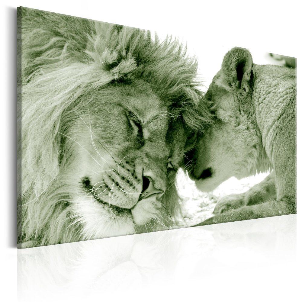 Schilderij - Leeuwen liefde in sepia