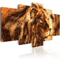 Schilderij - Prachtige Leeuw, 5 luik