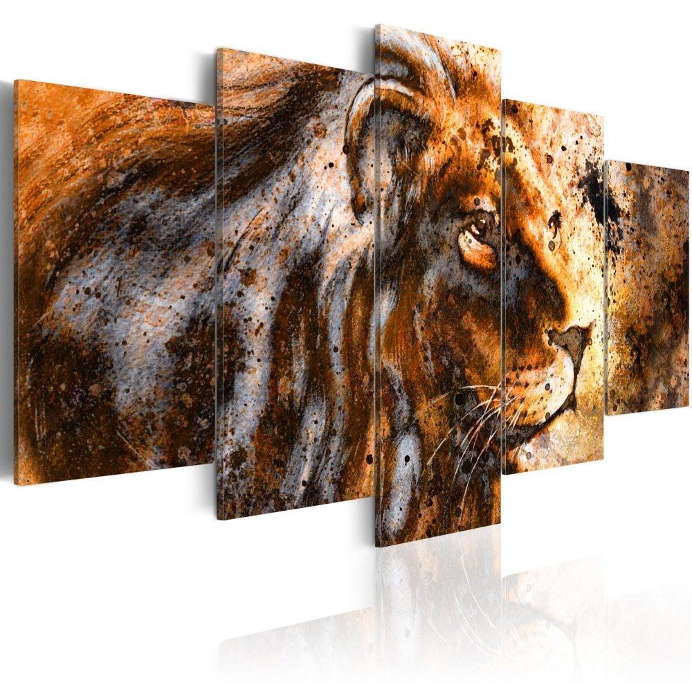 Schilderij - Herinnering aan de koning II, Leeuw, 5 luik