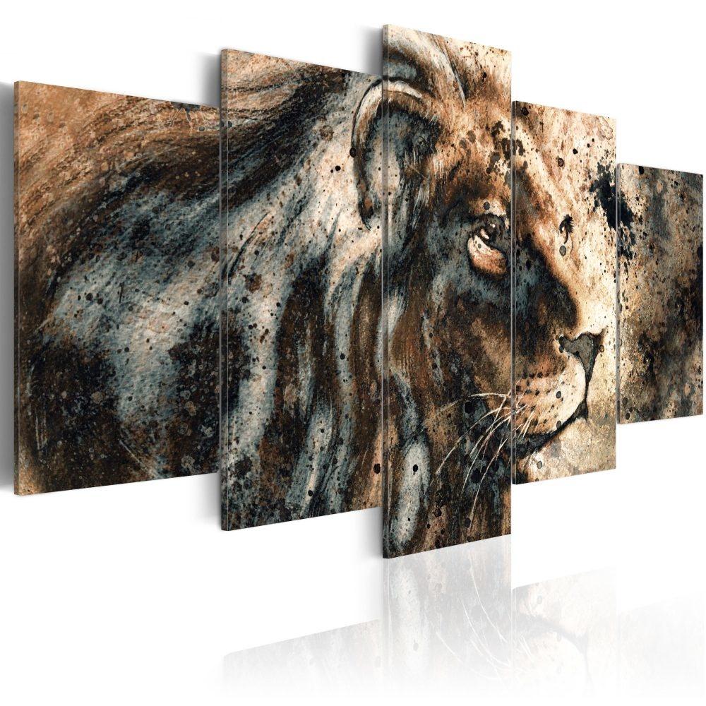 Schilderij - Herinnering aan de koning, Leeuw, 5 luik