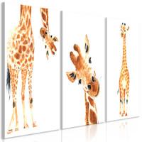 Schilderij - Grappige Giraffe, 3 luik