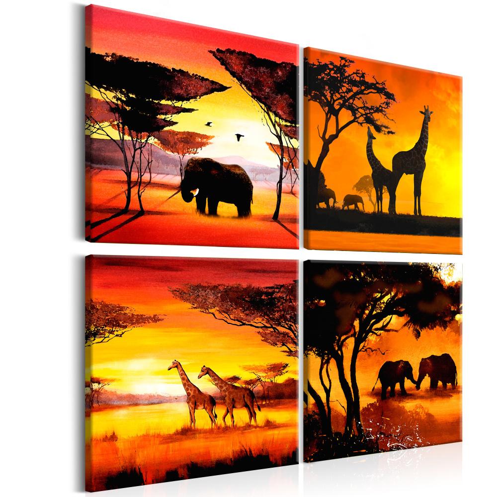 Schilderij - Dieren uit Afrika, 4 delen