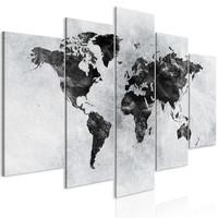 Schilderij - Wereld in zwart en wit, wereldkaart, 5 luik