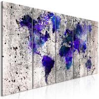 Schilderij - Wereldkaart inktvlekken, 5 luik