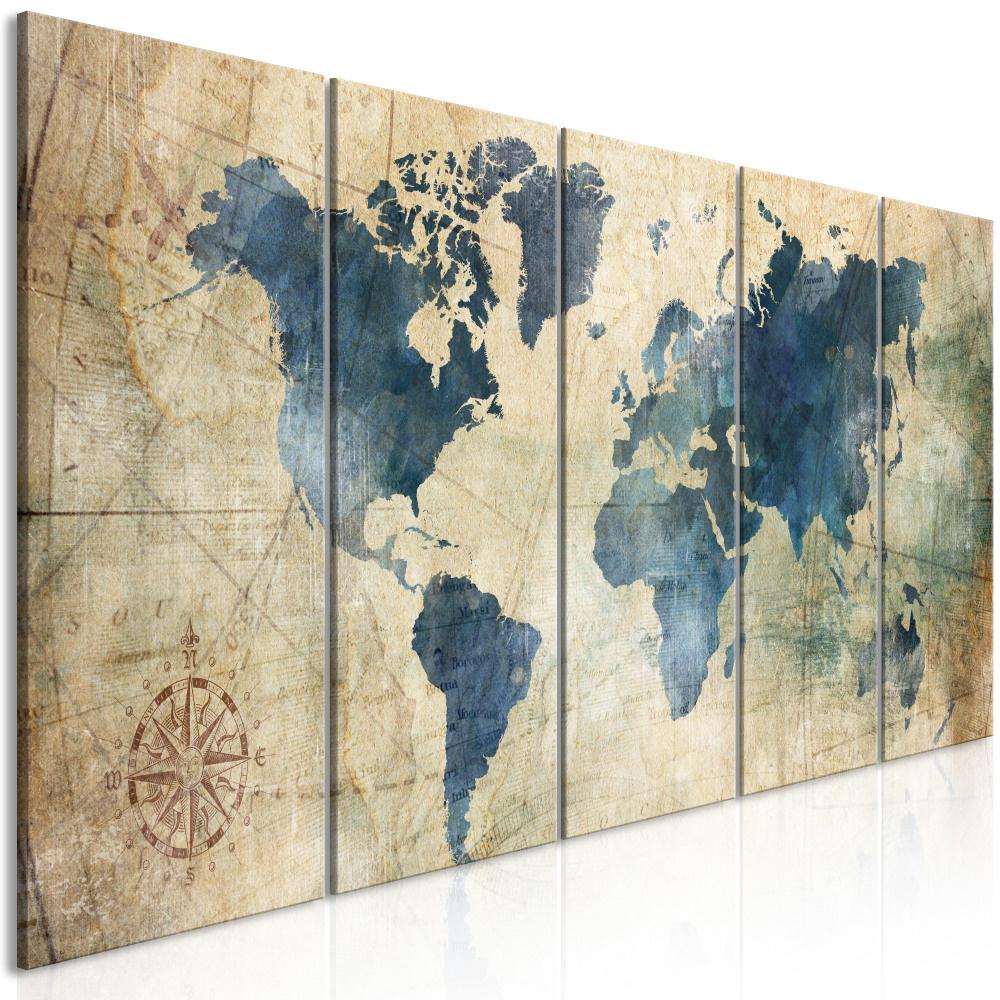 Schilderij - Retro map, wereldkaart, 5 luik