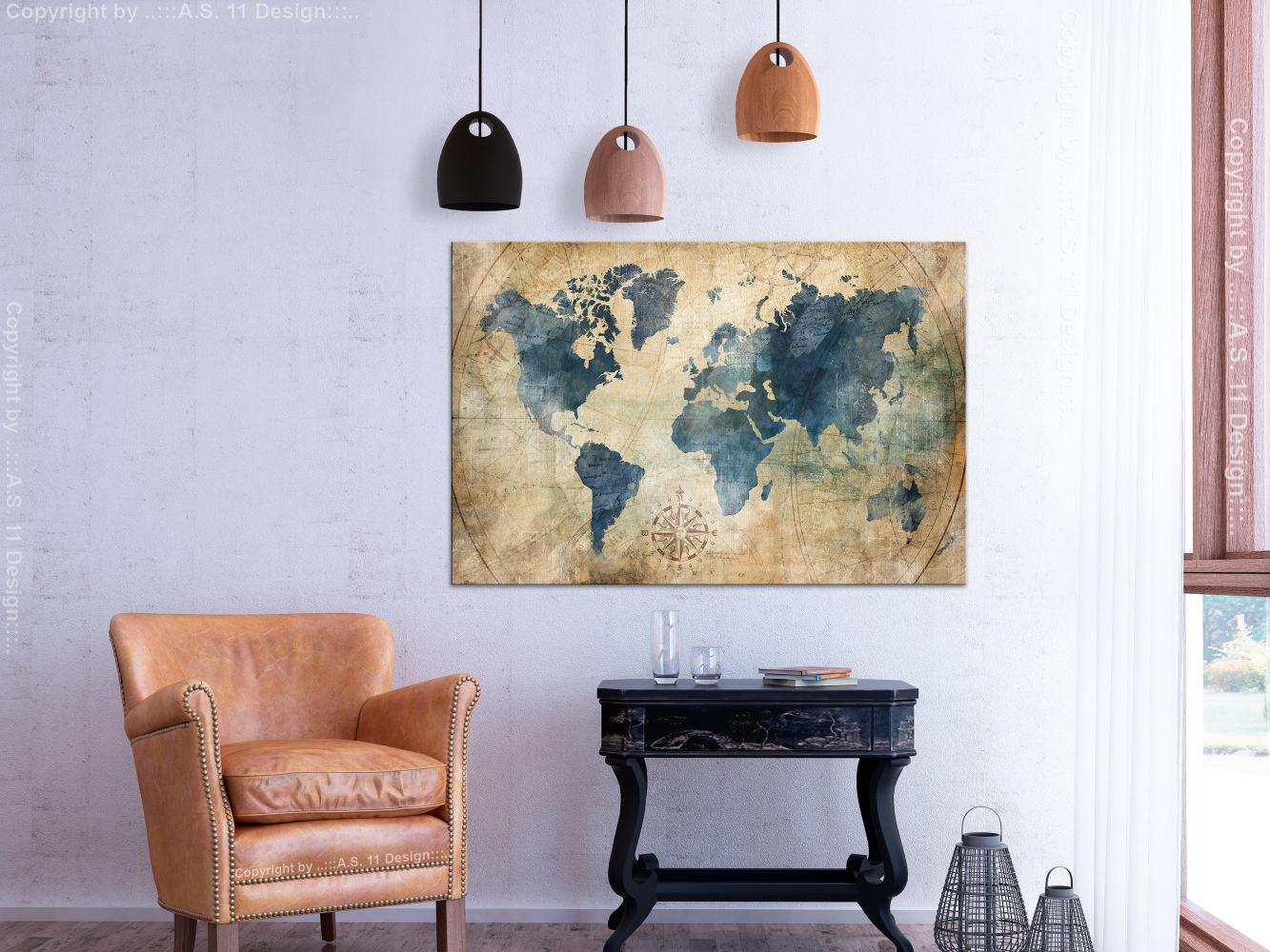 Schilderij - Retro map, wereldkaart
