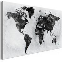 Schilderij - Wereld in zwart en wit, wereldkaart
