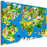 Schilderij - Wereldkaart voor kinderen, kinderkamer