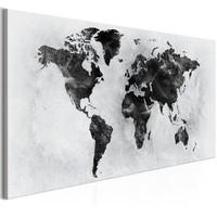 Schilderij - Wereld van beton (canvas)  Wereldkaart  100x45xm