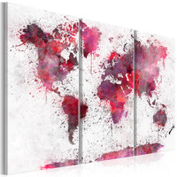 Schilderij - Wereldkaart van rode waterverf (canvas) 3 luik