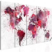 Schilderij - Wereldkaart , Wereld in Rode Waterverf II , 5 luik