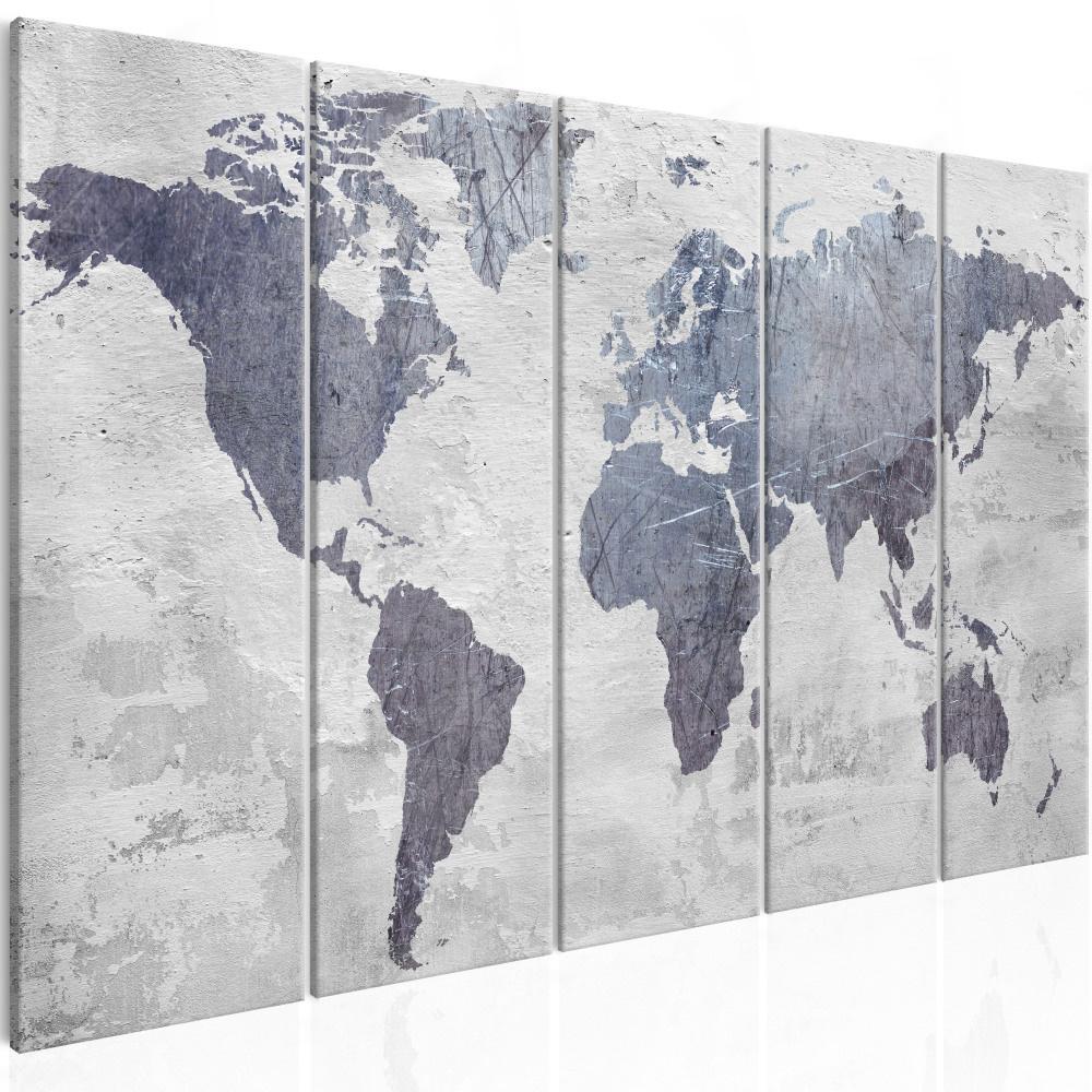 Schilderij - Grijze wereld op Beton, betonlook , 5 luik