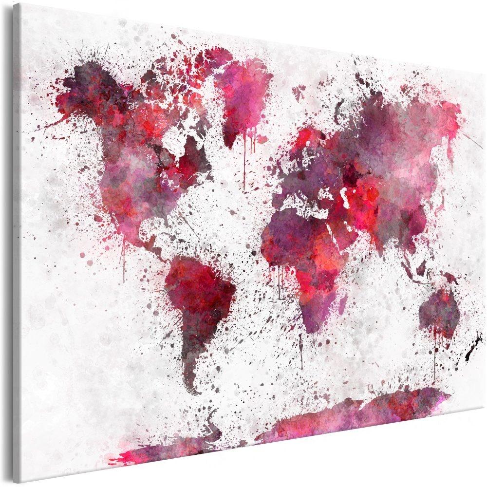 Schilderij - Wereldkaart , Wereld in Rode Waterverfkleuren