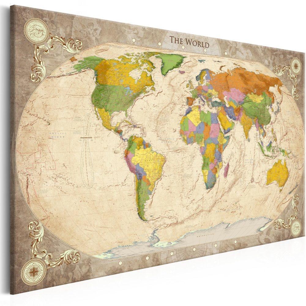 Schilderij - Wereldkaart , Wereld in Ornamenten