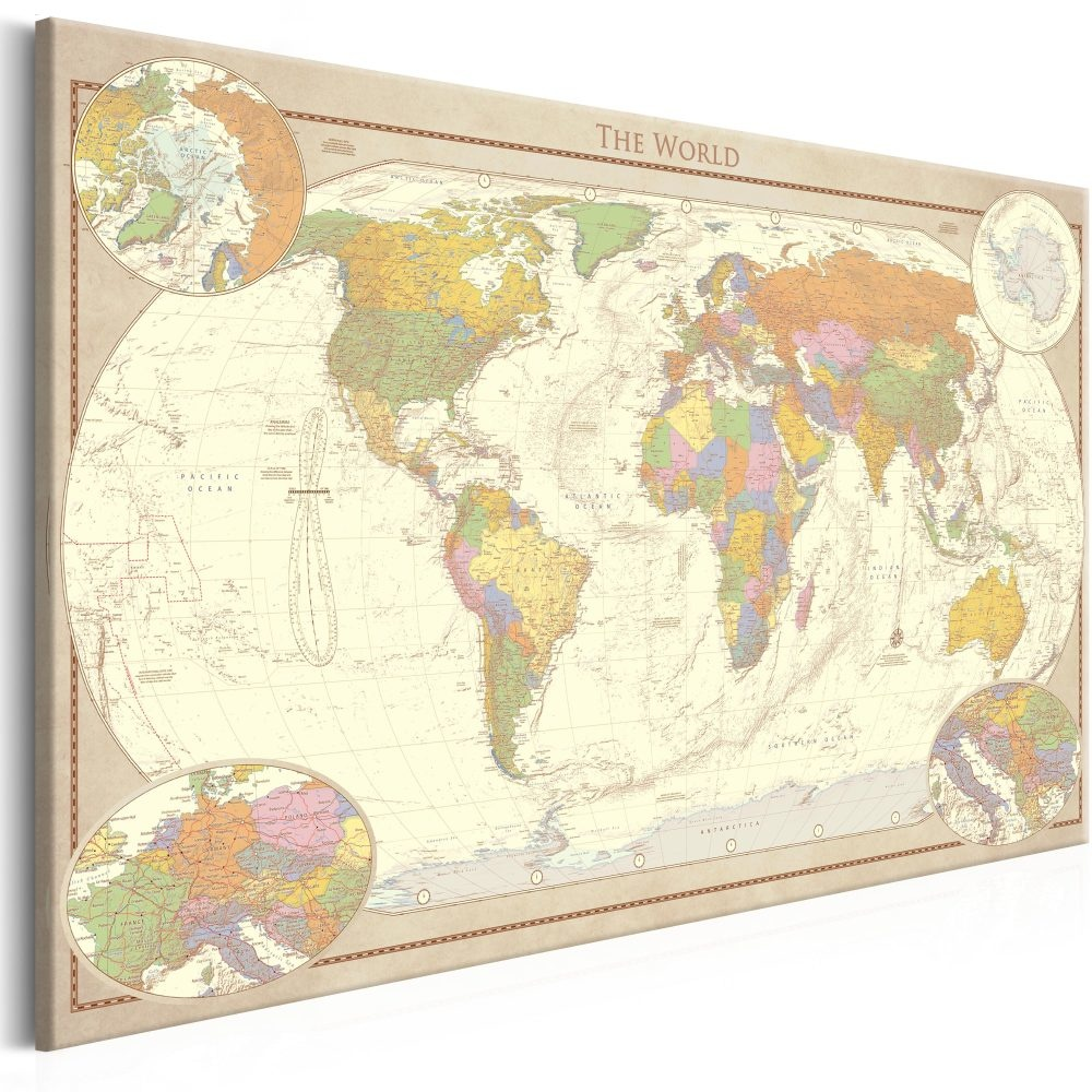 Schilderij - Wereldkaart , Cremekleurige Wereld