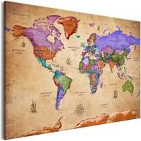 Schilderij - Wereldkaart , Kleurrijke Reizen IV