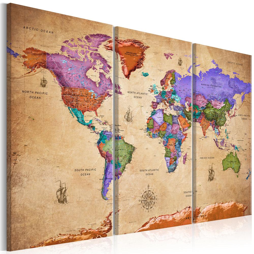 Schilderij - Wereldkaart , Kleurrijke Reizen III , 3 luik