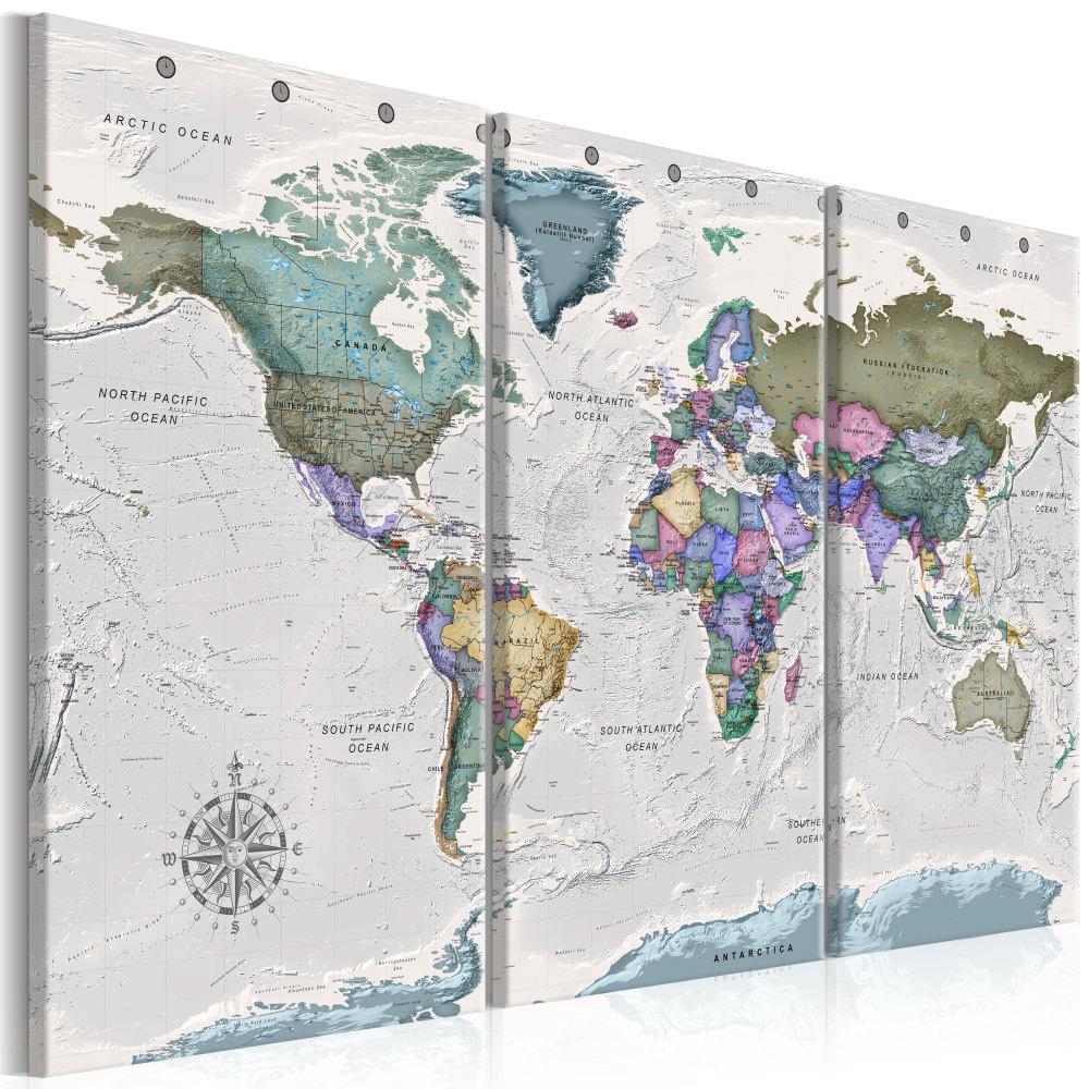 Schilderij -Wereldkaart , Bestemming van de Wereld , 3 luik