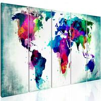 Schilderij - Wereldkaart , Kleurrijke Chaos , 5 luik