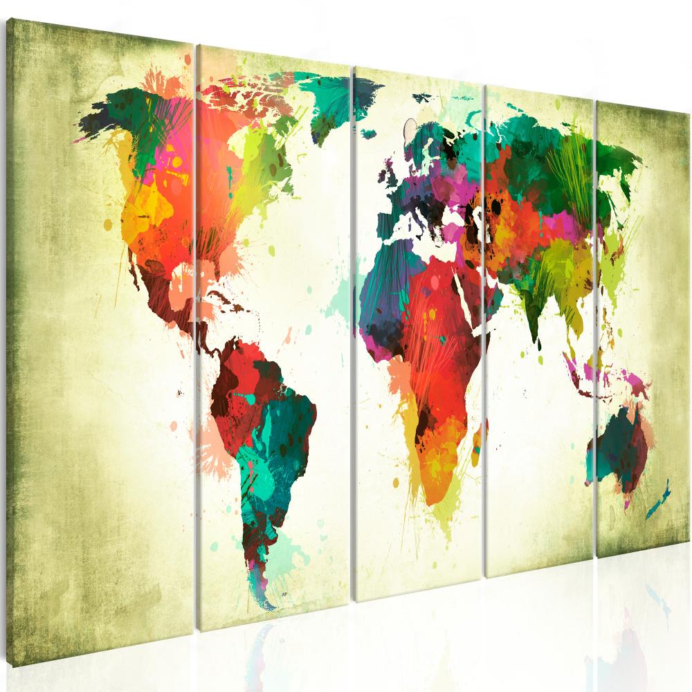 Schilderij - Wereldkaart , Ongewone Wereld , 5 luik