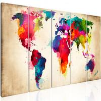 Schilderij - Wereldkaart , Heldere Continenten , 5 luik