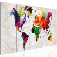 Schilderij - Wereldkaart , Verfrommelde Kaart , 5 luik