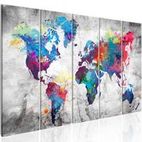 Schilderij - Wereldkaart , Verspilde Verf , 5 luik