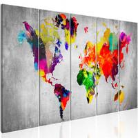 Schilderij - Wereldkaart , Wereld op Beton , betonlook , 5 luik